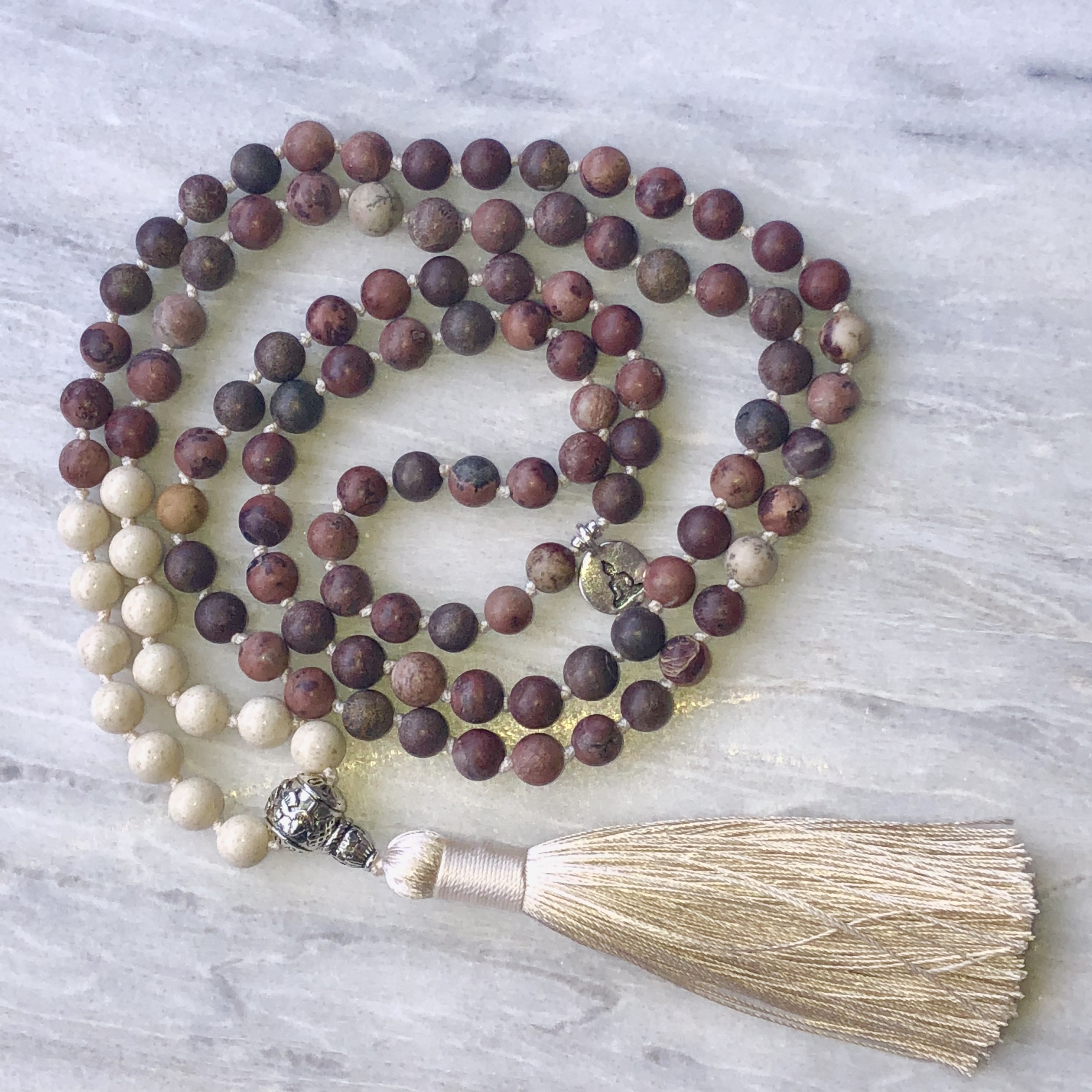 Stability and Harmony - Crazy Horse Agate and Fossil Agate Mala